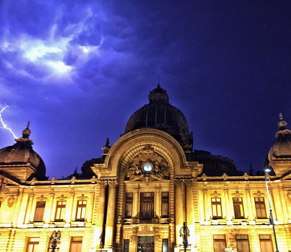Lightning over CEC palace in Bucharest