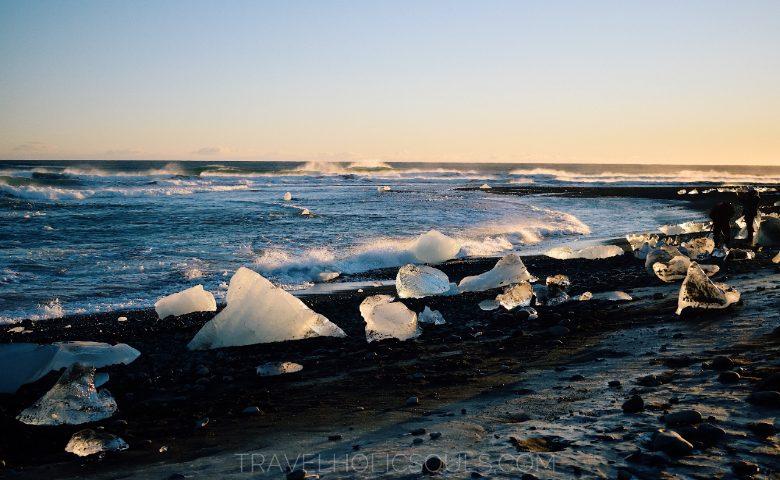 Vista della Diamond Beach costa sud islanda