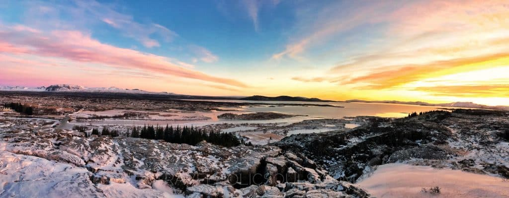 Thingvellir national park sunset