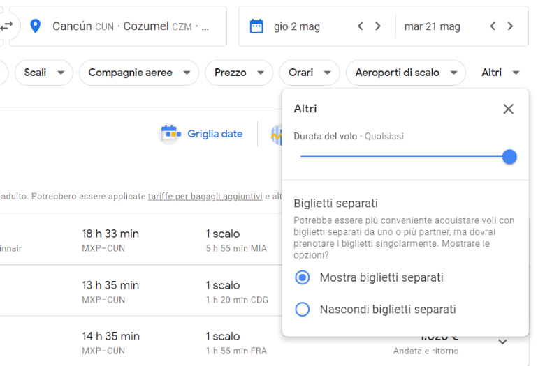 google flights biglietti separati