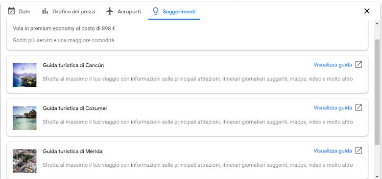 google flights funzione suggerimenti