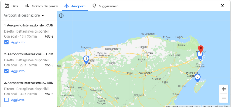 google flights mappa aeroporti