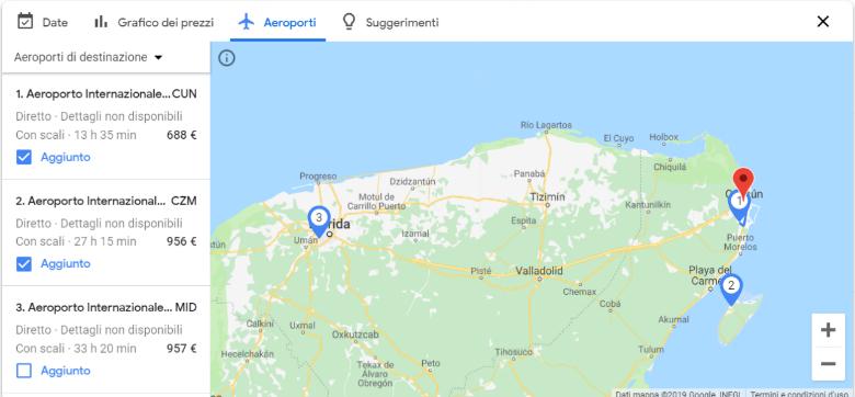 google flights mappa aeroporti
