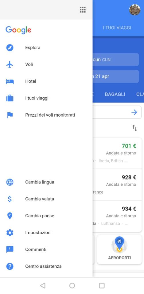 google flights versione mobile 2