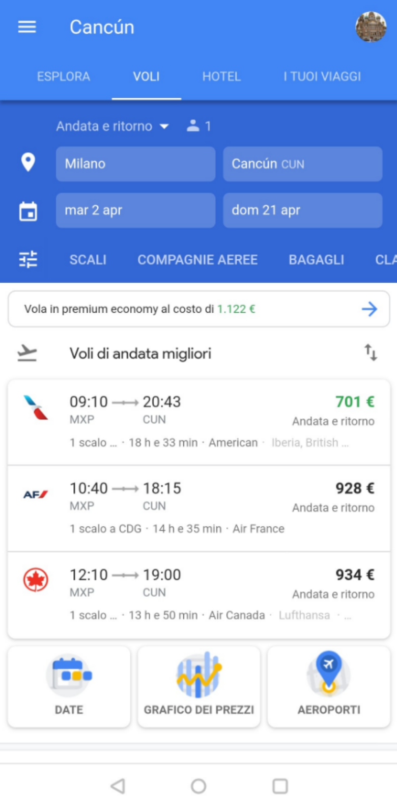 google flights versione mobile