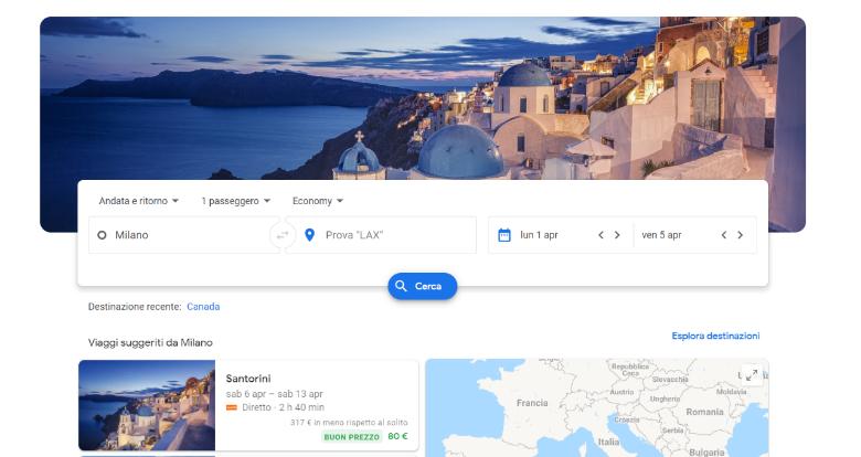 schermata principale google flights