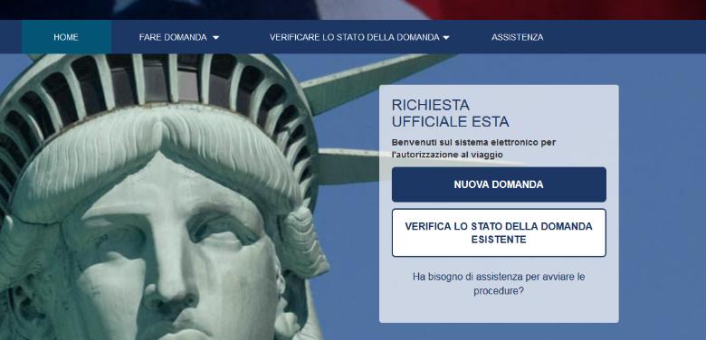 schermata principale visto turistico usa