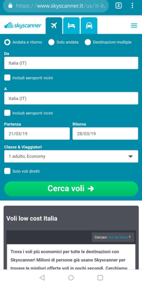 versione mobile schermata principale