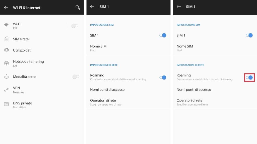 android disattivare roaming dati