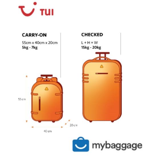 misure bagaglio a mano e stiva TUI