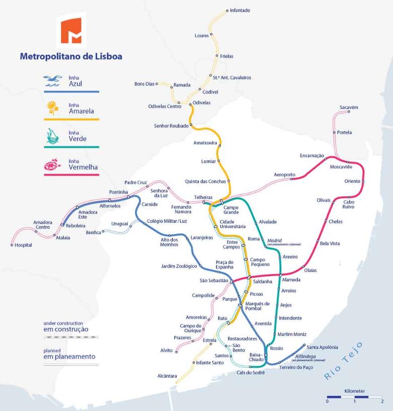visitare Lisbona, cartina metro