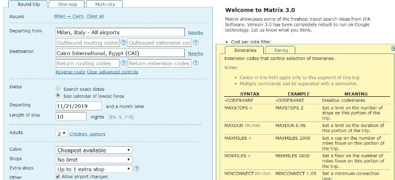 ita matrix codici avanzati
