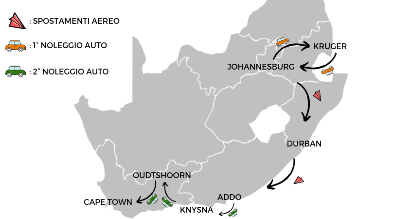 mappa spostamenti Sudafrica