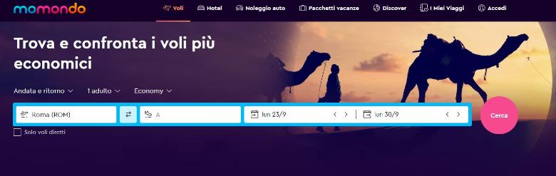 momondo schermata principale