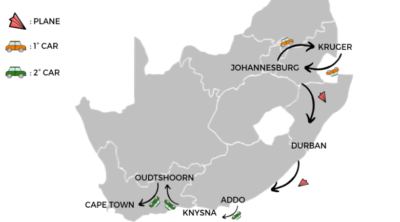 Map South Africa with car and plane