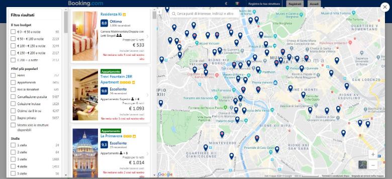 booking funzione mappa