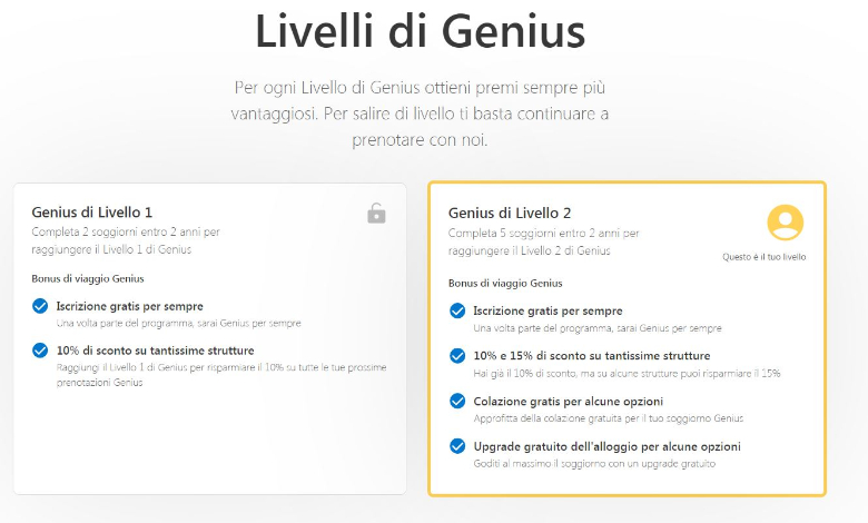 booking livelli genius