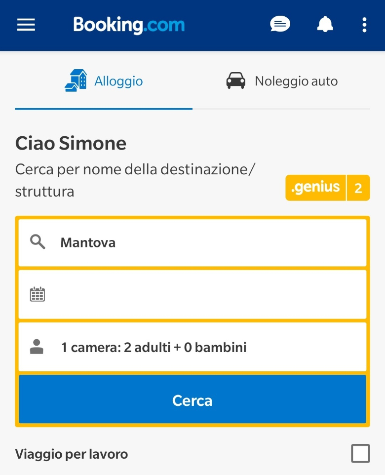 booking schermata principale mobile