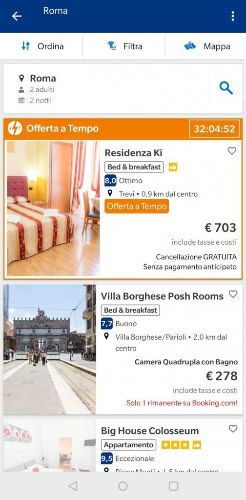risultati ricerca app booking
