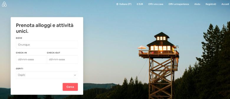 come funziona airbnb schermata principale