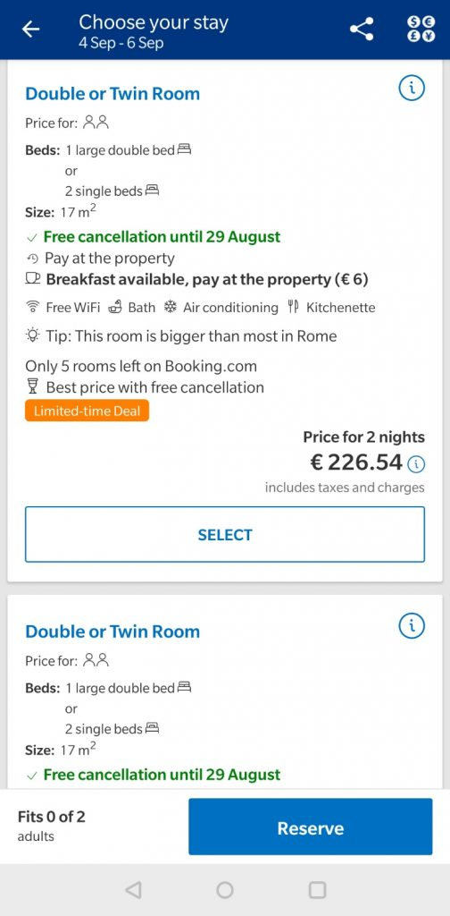 accommodation page mobile