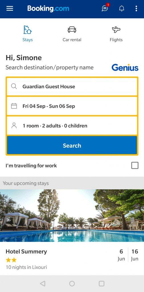 app homepage booking
