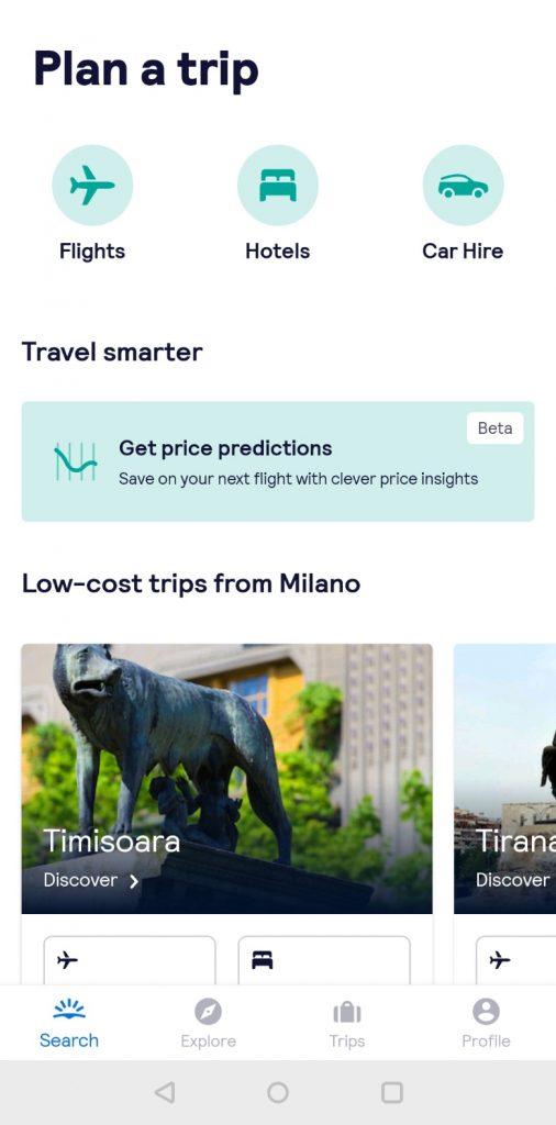 homepage skyscanner mobile