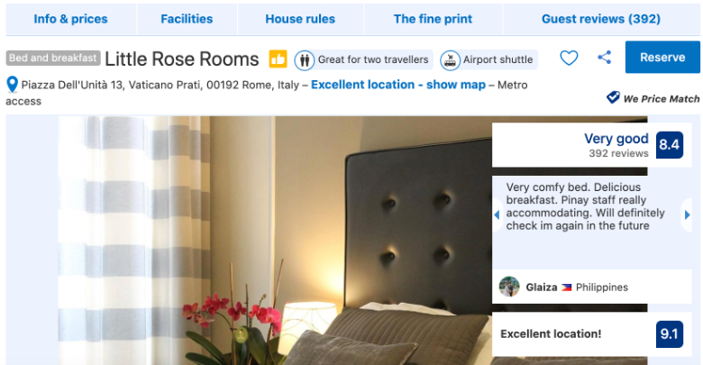 hotel page booking