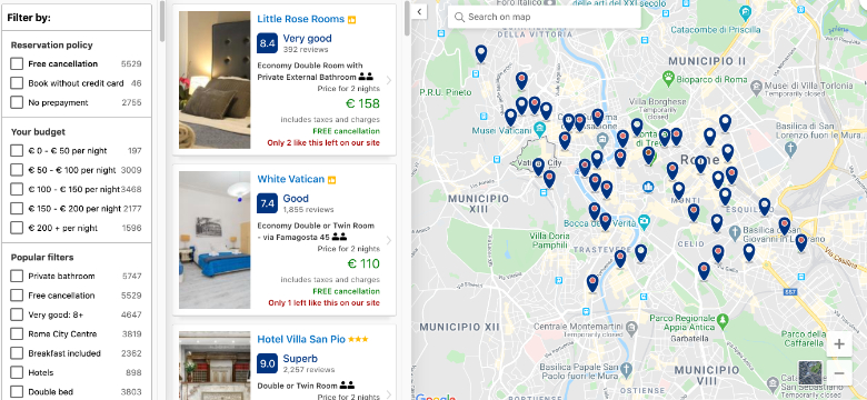 map view booking placeholders