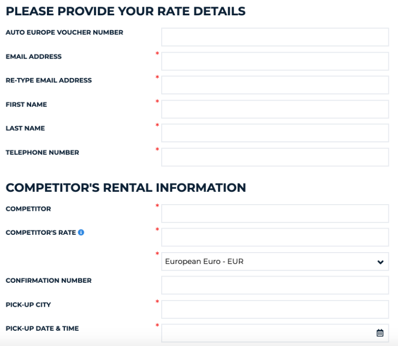 rate details refund auto europe