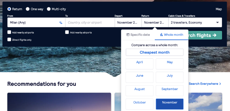 whole month feature skyscanner