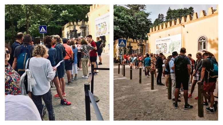 fila per visitare palacio da pena