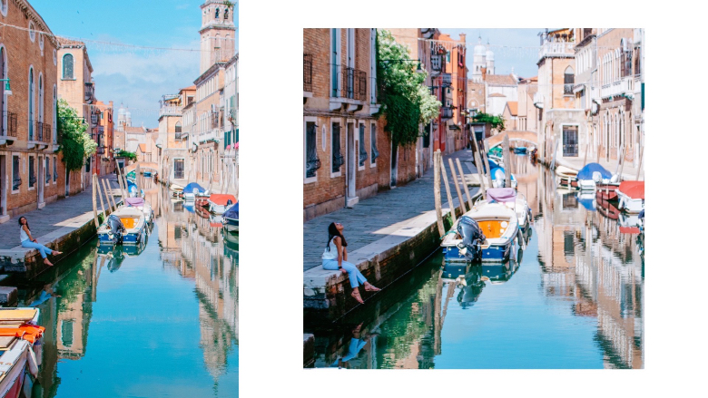 Ponte particolare e vista su Venezia